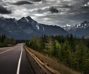 Road trip on a stormy day, Canada Wallpaper