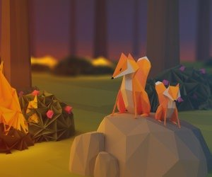 Low Poly Foxes Wallpaper