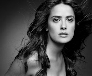 Salma Hayek Black & White Portrait Wallpaper