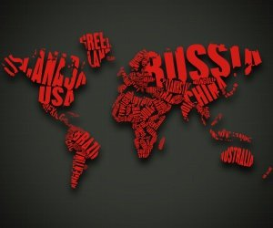 Red World Map Typography Wallpaper