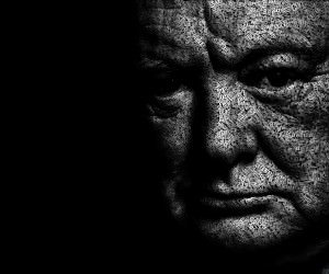 Winston Churchill Typographic Portrait Wallpaper