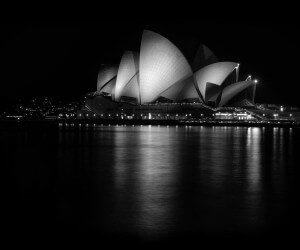 Sydney Opera House at Night in Black & White Wallpaper