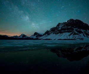 Milky Way over Bow Lake, Alberta, Canada Wallpaper
