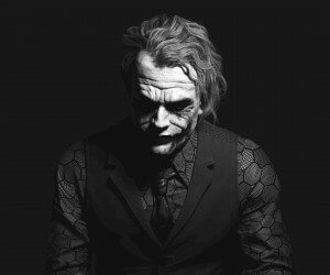The Joker Black & White Portrait Wallpaper