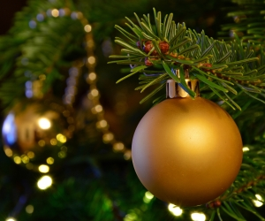 Christmas Golden Ball Ornament Wallpaper